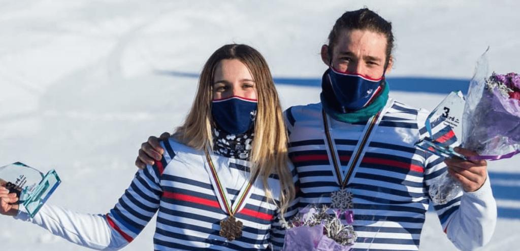 Léo Le Blé Jaques Julia Pereira de Sousa Mabileau médaille de bronze aux Championnats du monde par équipe de snowboard cross